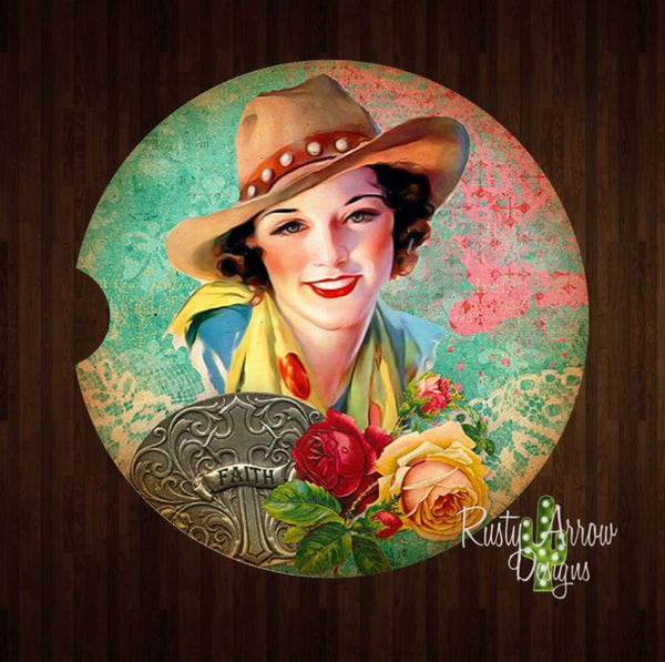 Western Vintage Cowgirl Set of 2 Car Coasters - Car Coasters