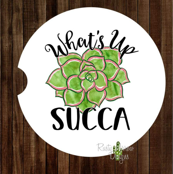 Whats Up Succa Set of 2 Car Coasters - Car Coasters