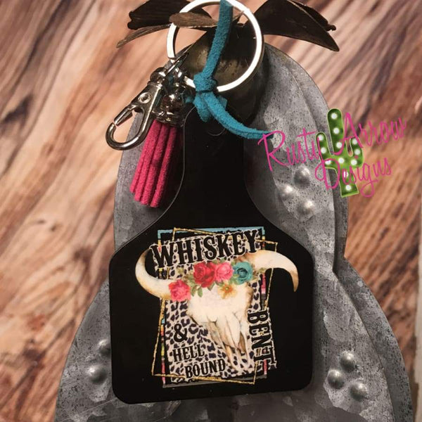 Whiskey Bent Hell Bound Ear Tag Key chain