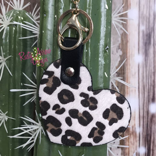 White Cheetah Heart Key Chain