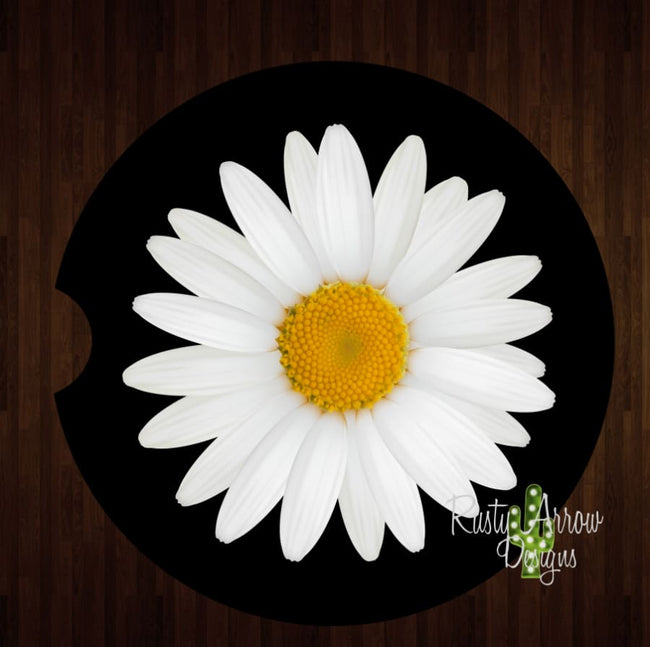 White Daisy Black Background Set of 2 Car Coasters - Car Coasters
