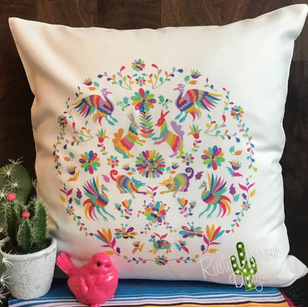 White Otomi Decorative Throw Pillow - Pillow