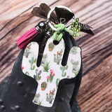 White with Small Cactus Key Chain