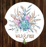 Wild and Free Feathers and Succulent Set of 2 Car Coasters - Car Coasters