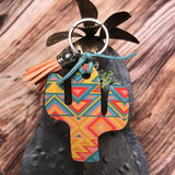 Yellow and Coral Southwest Cactus Key Chain