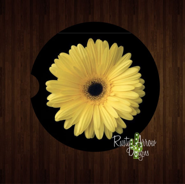 Yellow Gerber Daisy Set of 2 Car Coasters - Car Coasters