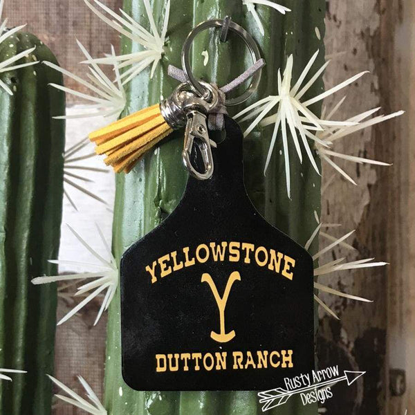 Yellowstone Dutton Ranch Livestock Ear Tag Key chain