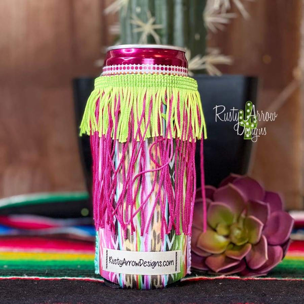 You cant float with us Fringe Slim Can Koozie - Koozie