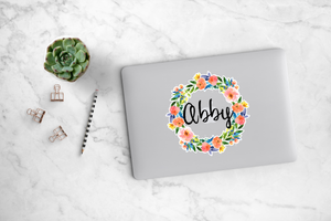 Vibrant Peonies Wreath Decal - Abby
