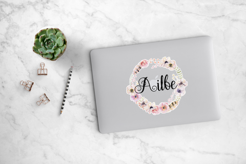 Pink Anemone and Feather Wreath Decal - Ailbe