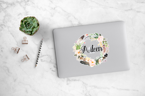 Blush Peony and Feather Wreath Decal - Aileen