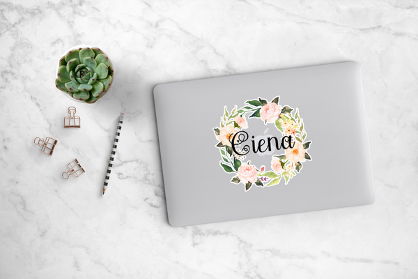 Blush Peonies Wreath Decal - Ciena