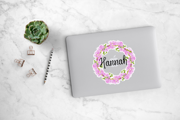 Cherry Blossom Wreath Decal - Hannah