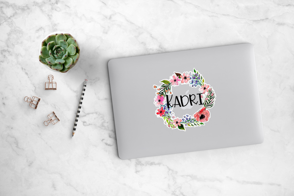 Poppy and Wildflower Wreath Decal - Kadri