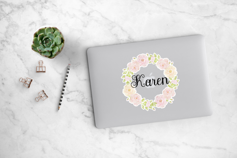 Light Pink Peony Wreath Decal - Karen
