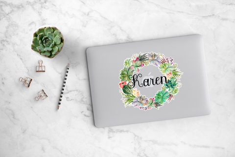 Succulent and Cacti Wreath Decal - Karen