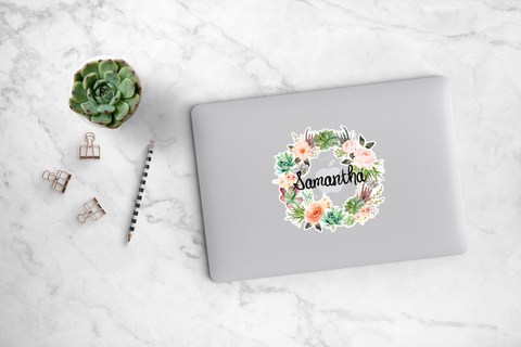 Succulent and Peony Wreath Decal - Samantha