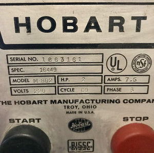 Hobart M802 comes With Stainless Bowl And Hook