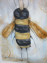 Vintage style BEE mixed media acrylic painting
