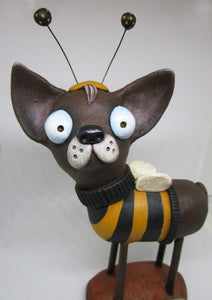 Large folk art style dog wearing a BEE outfit - Springtime valentine