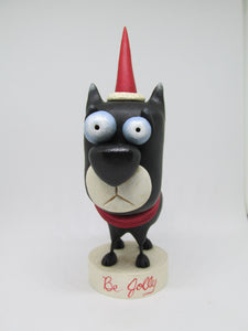 "Christmas folk art dog character ""Be Jolly"""