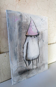 Original acrylic collage mixed media painting bird with pink hat