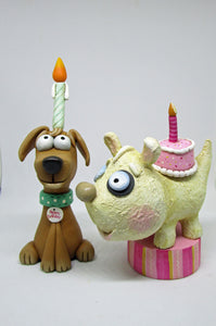 Birthday folk art style dog with cake on his back Wacky Character