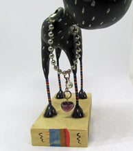 Black dog FOLK ART style with trinkets AMAZING primitive art