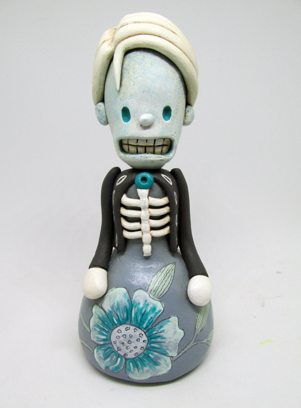 Blue Skeleton girl in dress great art character!