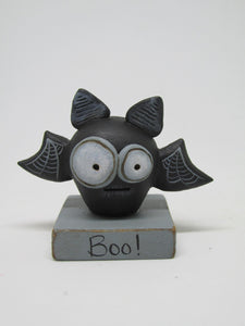 "Halloween small spooky bat on ""boo!"" base"