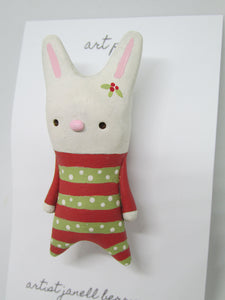 Christmas Bunny Pin GREAT GIFT