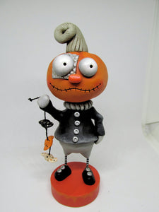 Halloween folk art style Pumpkin man with stitch mouth and string of candy