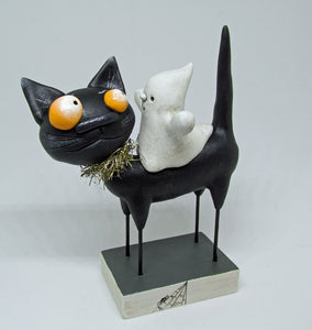 Halloween folk art Black Cat and Ghost rider