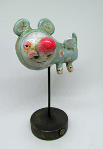 Wacky art character with super fine crackle finish and big red nose LOOK