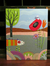 Folk art style Creature in the wild painting 8 x 10