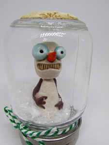 Christmas DRY snow globe with Creepy snowman inside