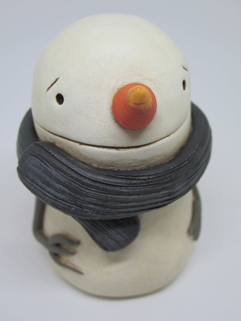 Cute creepy Christmas snowman sad eyes