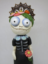 Day of the Dead Skelly Skeleton girl in dress with fancy hat
