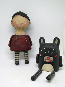 Modern yet primitive woodland bear with movable legs GREAT valentine gift