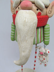 Christmas folk art Elf with red white polka dot bunny charm