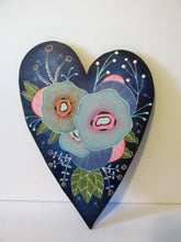 Wood cut folk art heart floral painting for wall ready to hang! misc