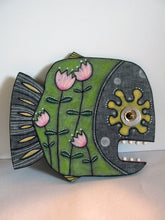 Folk art style wood painted FISH with flowers unique! Misc