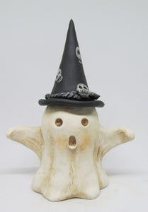 Halloween folk art Ghost wearing witch hat
