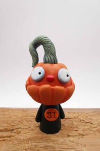 Little Halloween folk art Pumpkin man with goofy teeth!