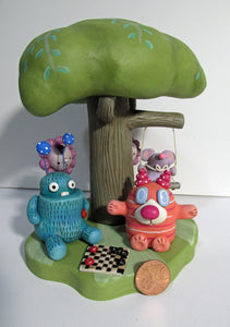 Spring Time Monsters and Mouse entire scene with checker game