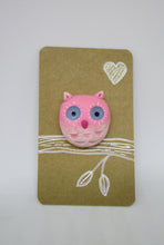 Valentine, Spring or Easter pink owl on flower