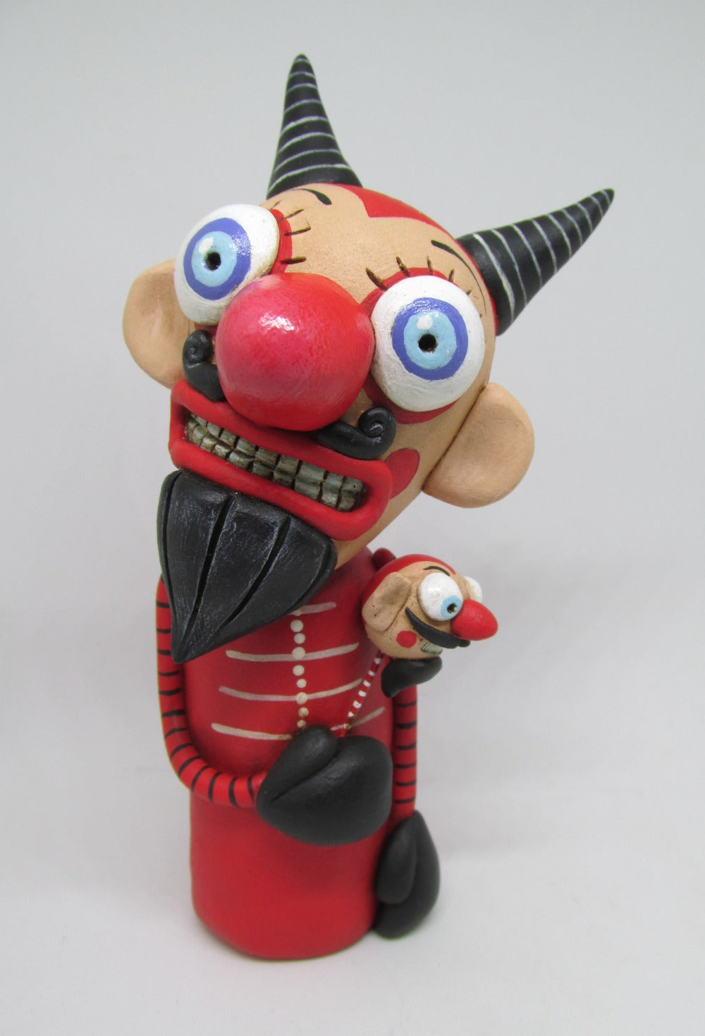 Puppet look - Devil wacky character with mini devil stick Halloween folk art