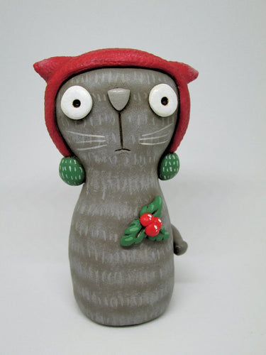 Christmas Cat with red hat and holly