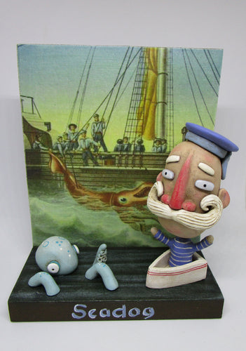 Diorama folk art Seadog - Sailor in boat with octopus and sea theme number 4
