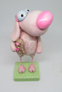 Easter - spring pink sheep with rabbit doll